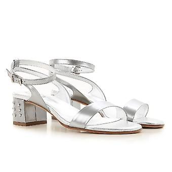 a64066c83fe25 Sale Tod s ankle strap heeled sandals in silver metallic leather