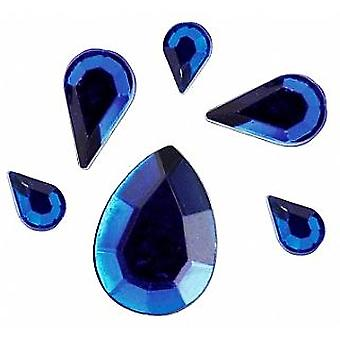 Assorted Blue Teardrop or Petal Shaped Acrylic Rhinestones for Crafts - 310pk
