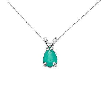 14k White Gold Pear Shaped Emerald Pendant with 18