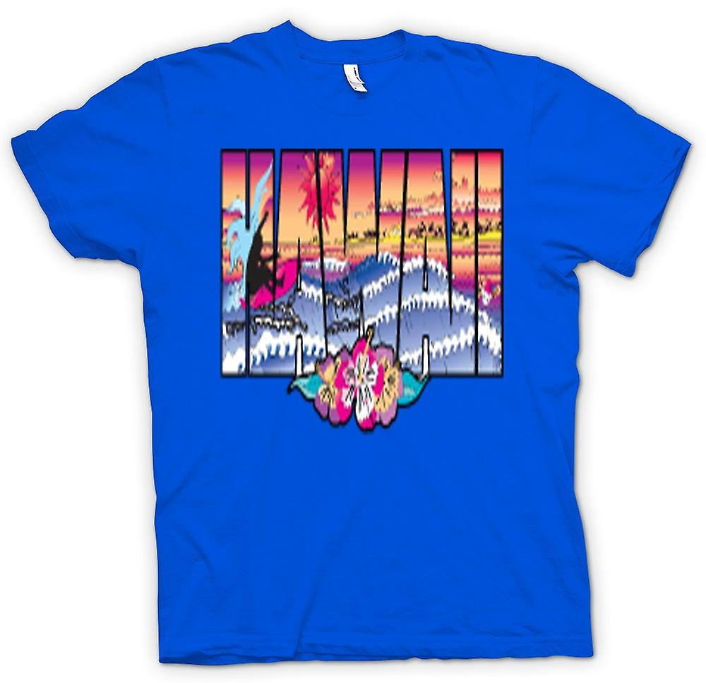 Mens T-shirt - Hawaii Lettering with 80s Design