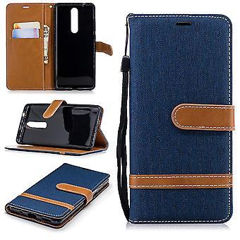 Étui pour Nokia 5.1 jeans couverture téléphone portable housse de protection boîtier bleu foncé