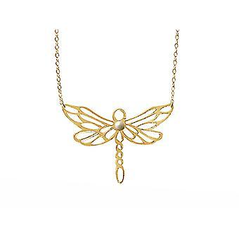 Gemshine Halskette Libelle mit weißer Zuchtperle in 925 Silber oder hochwertig vergoldet. Nachhaltiger, qualitätsvoller Schmuck Made in Spain