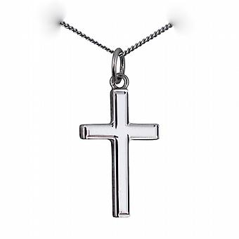 9ct White Gold 20x13mm engine turned lined border solid block Cross with a curb Chain 16 inches Only Suitable for Children