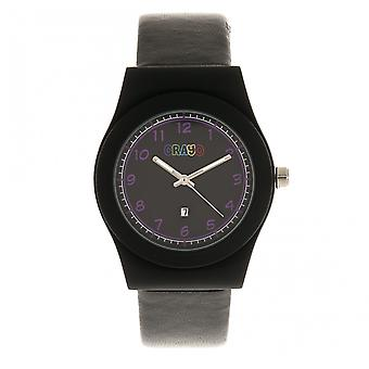 Crayo Dazzle Leather-Band Watch w/Date - Black