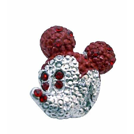 Cute Mickey Mouse Siam Red Crystals Sparkling Silver Casting Brooch