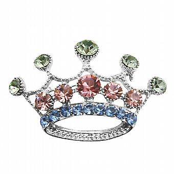 Multicolored Crystals Crown Brooch