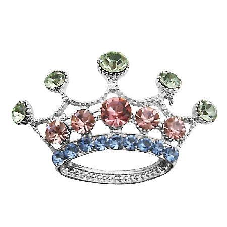 Multicolored Crystals Crown Brooch