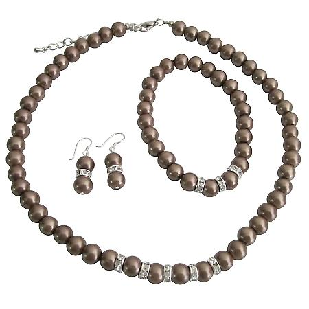 Bronze Brown Pearls Bridesmaide Jewelry Set Simulatd Brown Pearl Necklace Sterling Earring w/ Stretchable Bracelet