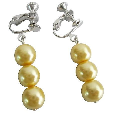 Bridesmaid Yellow Pearls Jewelry Clip On Earrings