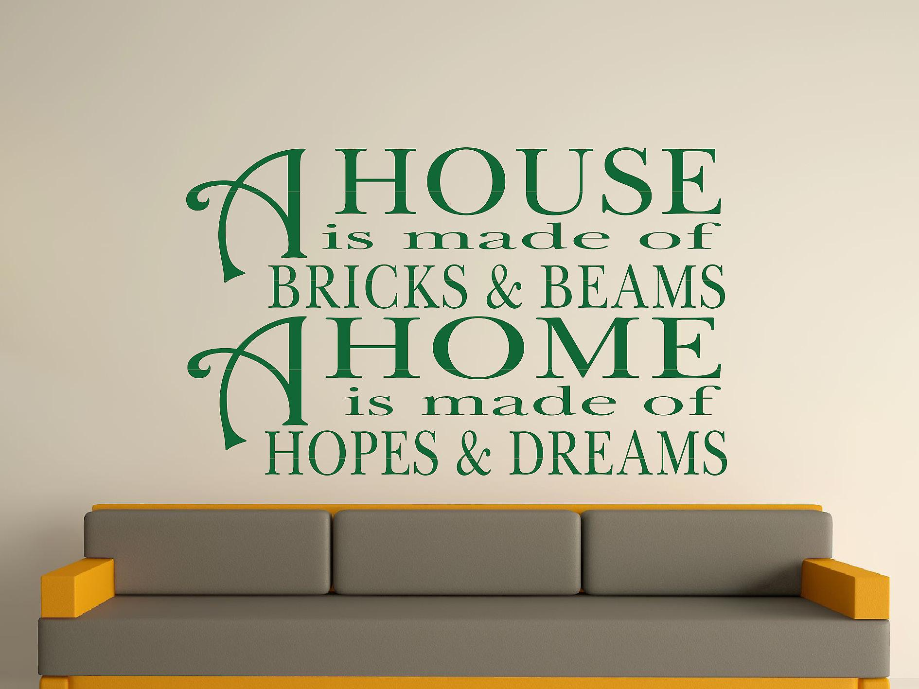 Een huis Is gemaakt van bakstenen en balken v2 Wall Art Sticker - Racing Green