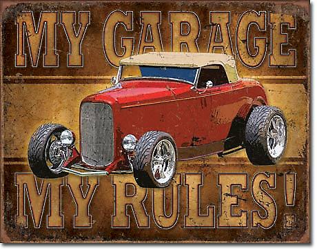 My Garage My Rules (red hot rod) metal sign (de)