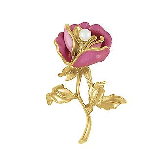 Eternal Collection English Rose Two Tone Pink Enamel Gold Tone Brooch