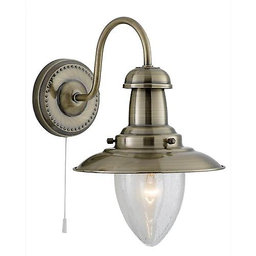 Searchlight 5331-1AB Fisherman Antique Brass Finish Switched Wall Light Seeded Glass