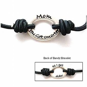 TOC Bandz Mom You Get Smarter.. As I Get older.. 6 Inch Black Stretch Bracelet
