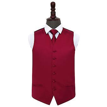 Colete de cetim casamento Borgonha planície & conjunto de gravata