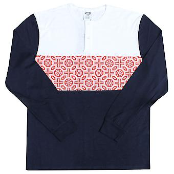 Crooks & Castles Pagoda Long Sleeve Henley T-shirt True Navy