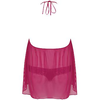 DREAMGIRL Pink Halter Babydoll With Tanga Briefs