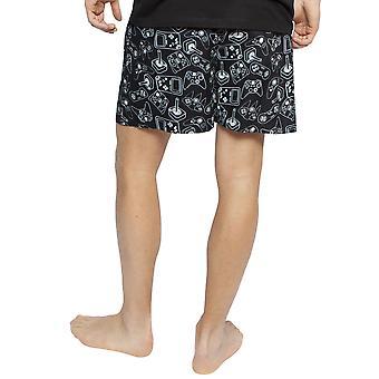 Cyberjammies 6389 Men's Isaac Black Mix Remote Control Print Cotton Pyjama Short