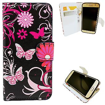 Samsung Galaxy S7-cases/portefeuille en cuir-papillons