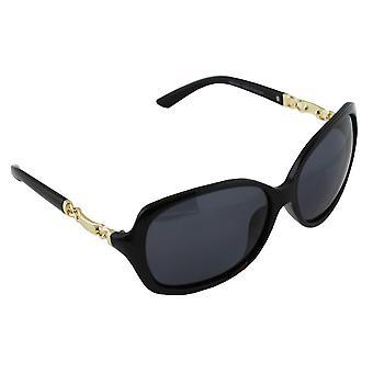 Sonnenbrille UV 400 oval polarisierendes Glas gold schwarz S356_4 FREE BrillenkokerS356_4
