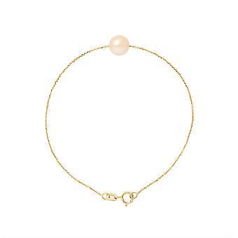 Kvinders perle kultur armbånd af søde vand Rose AA og gule guld 750/1000