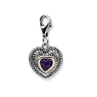 925 Sterling Silver Fancy Lobster Closure With 14k Yellow Amethyst Antiqued Charm - Measures 24x12mm