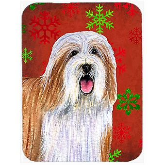 Bearded Collie Red and Green Snowflakes Christmas Glass Cutting Board Large