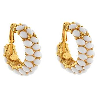 Kenneth Jay Lane Gold Plated & White Cabochons Hoop Clip On Earrings