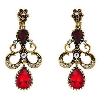 Clip auf Ohrringe Store große Vintage Gold & Siam rot Crystal Curl Kronleuchter Tropfen