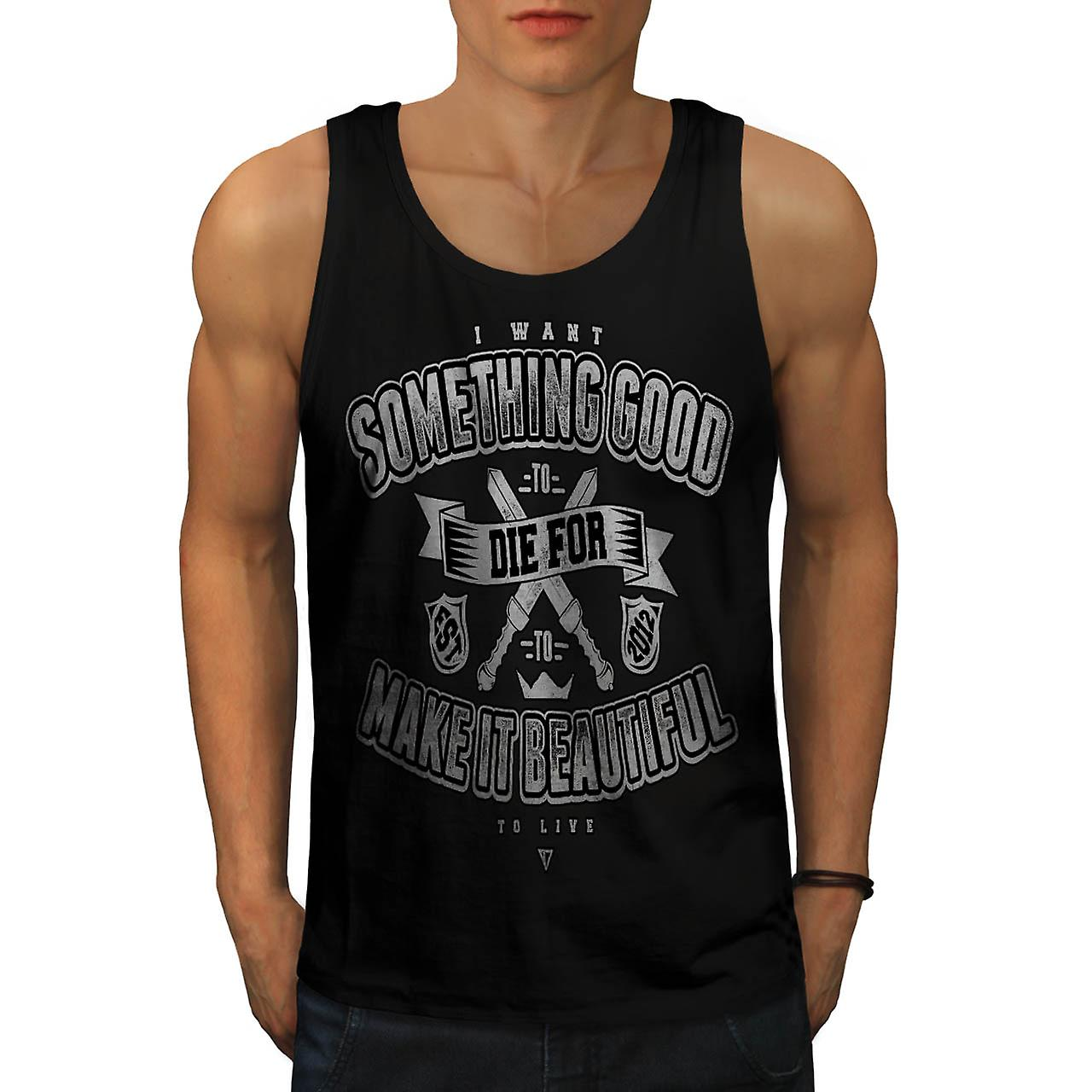 Beautiful Live Death Life Quote Men Black Tank Top | Wellcoda