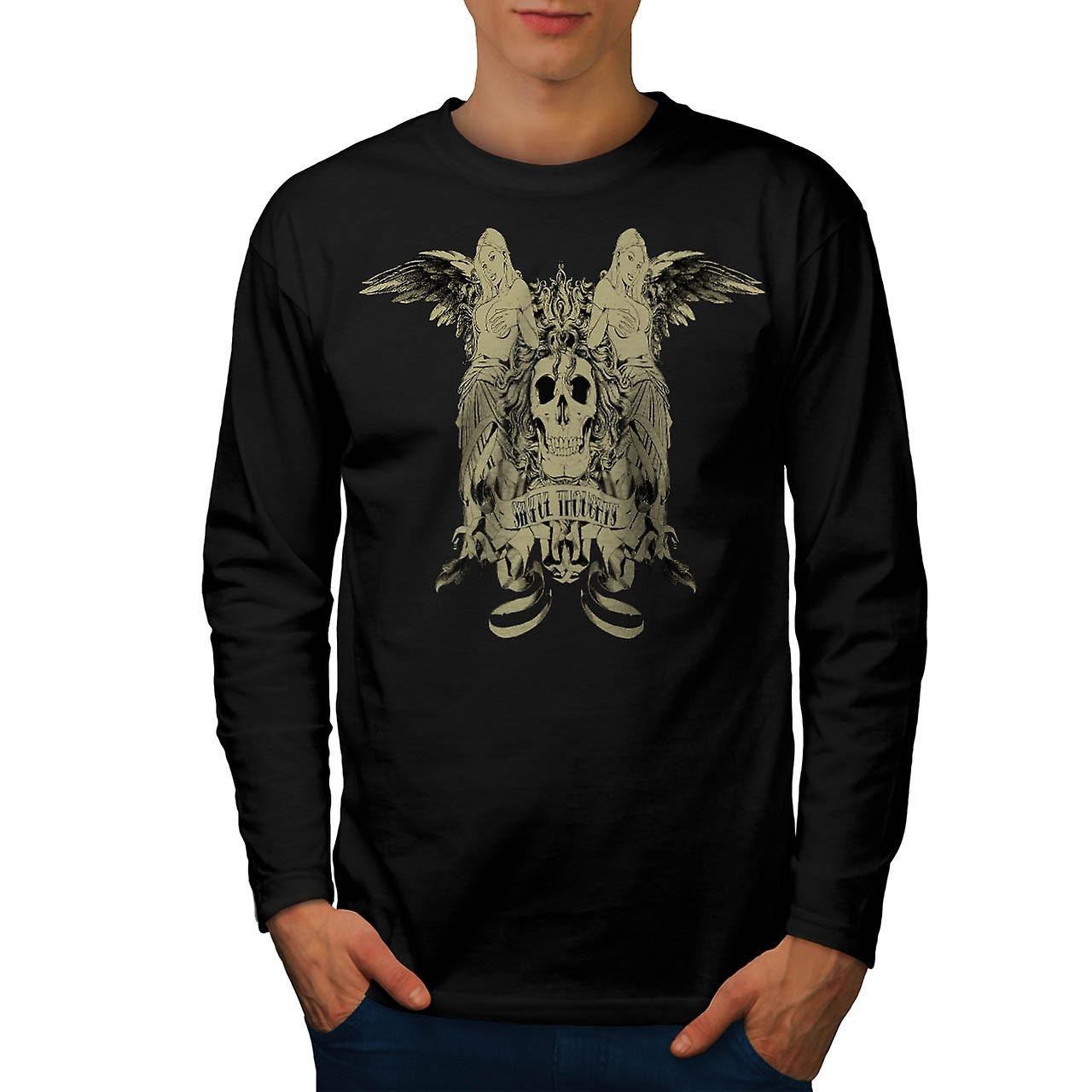 Sinful Thoughts City Skull Angel Men Black Long Sleeve T-shirt | Wellcoda