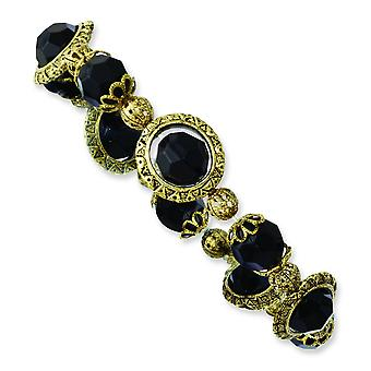 Brass-tone Black Acrylic Beads Stretch Bracelet
