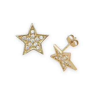14k Yellow Gold CZ Big Star Fancy Post Earrings - Measures 12x12mm