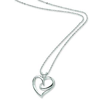 Sterling Silver Polished Gift Boxed Spring Ring Rhodium-plated Heart Necklace - 4.7 Grams - 18 Inch