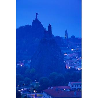 Rocher Corneille with Saint Michel dAiguilhe and Cathedral of Notre Dame Le Puy Le Puy-en-Velay Haute-Loire Auvergne France Poster Print by Panoramic Images (24 x 36)