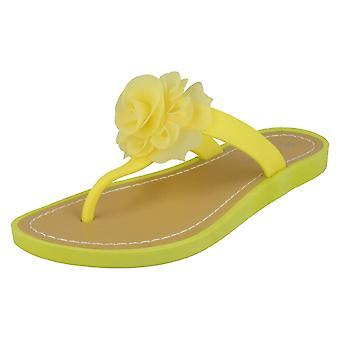 Ladies Savannah Flat Toepost Rose Trim Sandals F0889