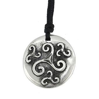 Handgemaakte Keltische vier spiralen tinnen hanger