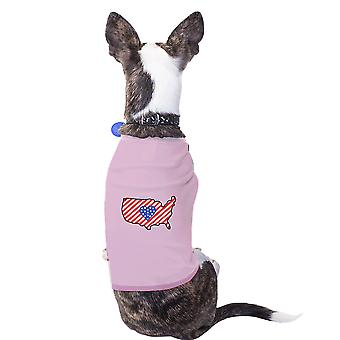 American Flag Pattern USA Map Graphic Pink Shirt For Small Pet Only