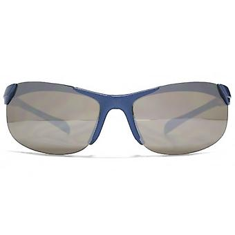 Monkey Monkey Childrens Harry Mirrored Sports Wrap Sunglasses In Metallic Blue