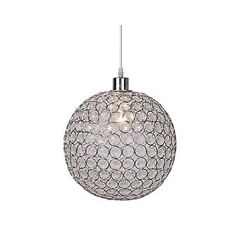 Lucide AYLA Clear Glass Globe Ceiling Pendant With Chrome Finish