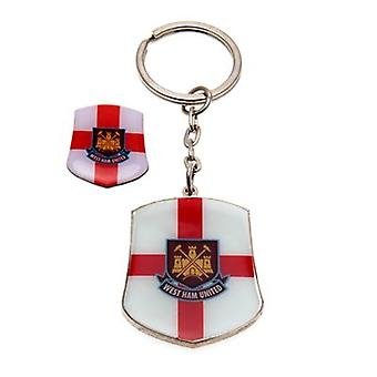 West Ham United Keyring & Badge Set SG