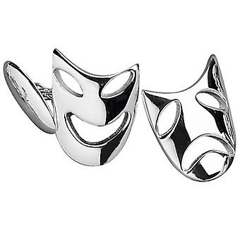Orton West Silver Plated Theatre Mask Cufflinks - Silver