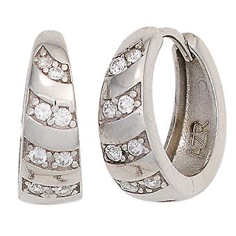 Hoop earrings earrings rhodium-plated 925 Sterling Silver earrings silver Keywork with cubic zirconia