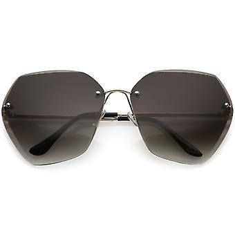 Oversize Rimless Geometric Sunglasses Beveled Gradient Lens 70mm