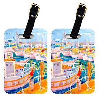 Carolines tesori 6017BT coppia di 2 Shirmp barche bagagli Tag