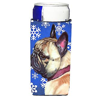French Bulldog Frenchie Winter Snowflakes Holiday Ultra Beverage Insulators for