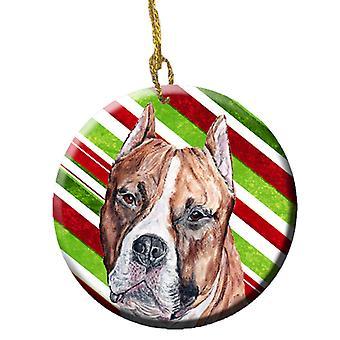 Staffordshire-bulterriër Staffie riet van het suikergoed keramische Kerstbal