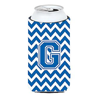 Letter G Chevron Blue and White Tall Boy Beverage Insulator Hugger