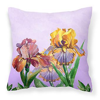 Purple and Yellow Iris Fabric Decorative Pillow