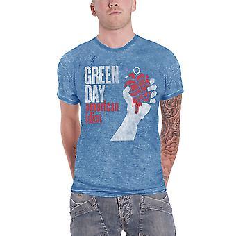 Green Day T Shirt American Idiot Vintage Logo officielle Herre blå nye udbrændthed